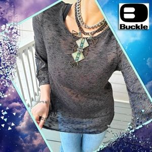 Buckle 3/4 Lace-sleeve Scoop Neck V-back Tunic